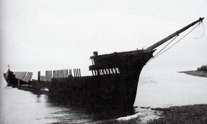 una nave spiaggiata a punta arenas